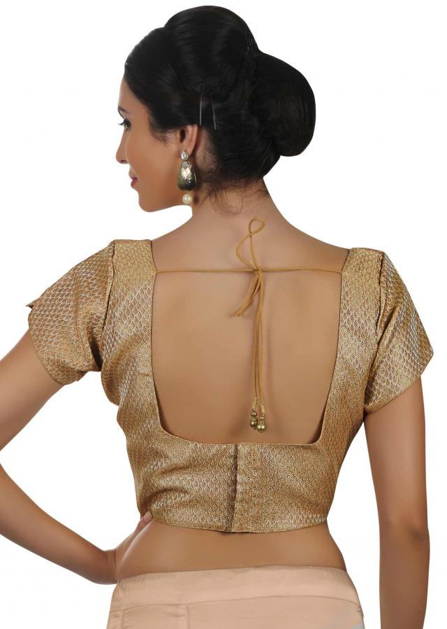 Gold blouse in lurex with round neckline only on Kalki