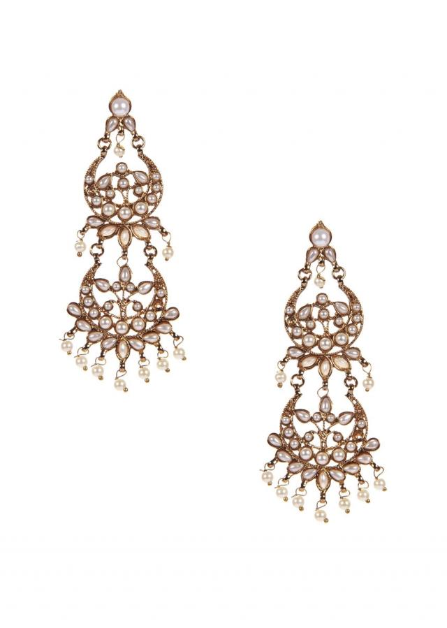 Gold Danglers With Pearl only on Kalki