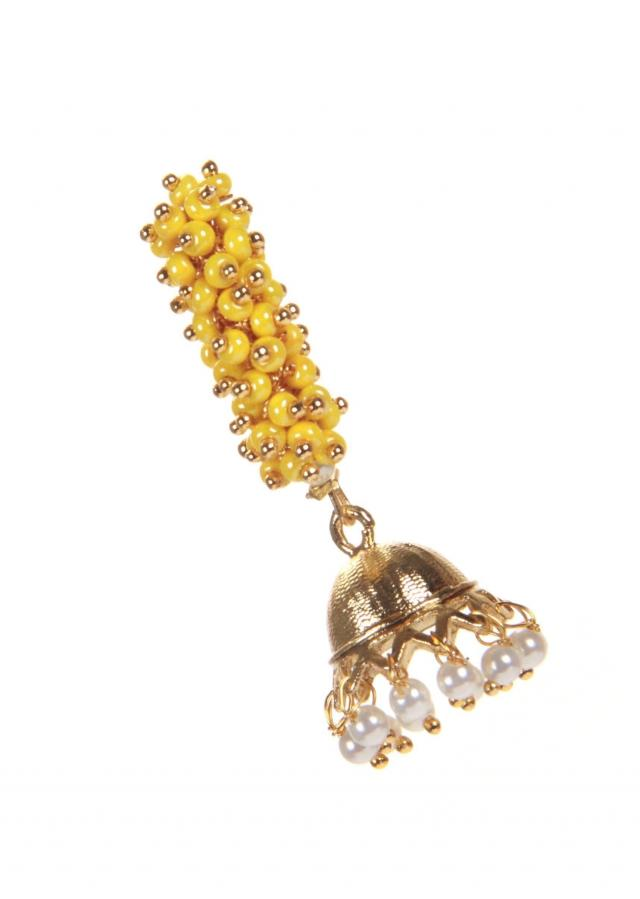 Yellow Jhumki With Pearl Hanging only on Kalki