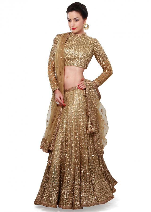 Gold Lehenga Choli In Sequins And Zari Embroidery Work Online - Kalki Fashion
