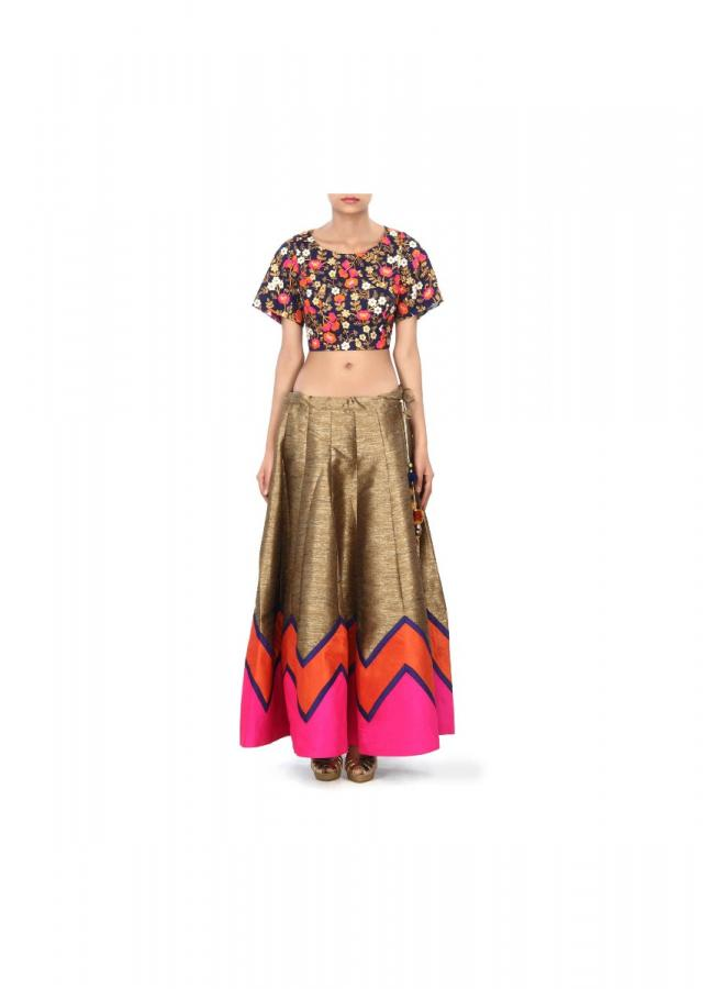 Gold lehenga with navy blue embroidered blouse only on Kalki