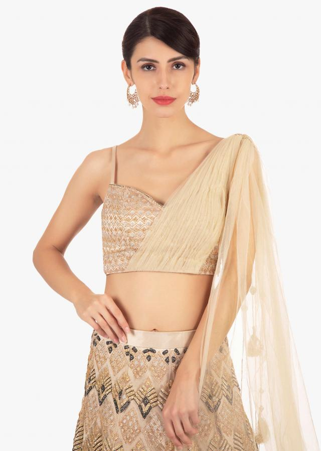 Gold Lehenga In Net With Geometric Motif Paired With A Strap Top With Preattached Net Dupatta Online - Kalki Fashion