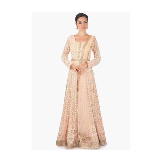 Gold Peach Anarkali With A Pre Attached Net Dupatta Online - Kalki Fashion