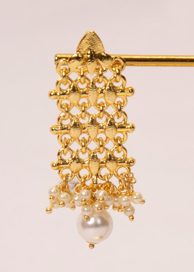 Gold plated cut out earrings with moti and pearl drops