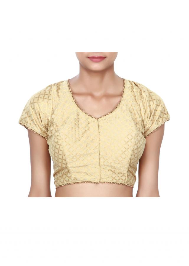 Gold princes line blouse with moti lace only on Kalki