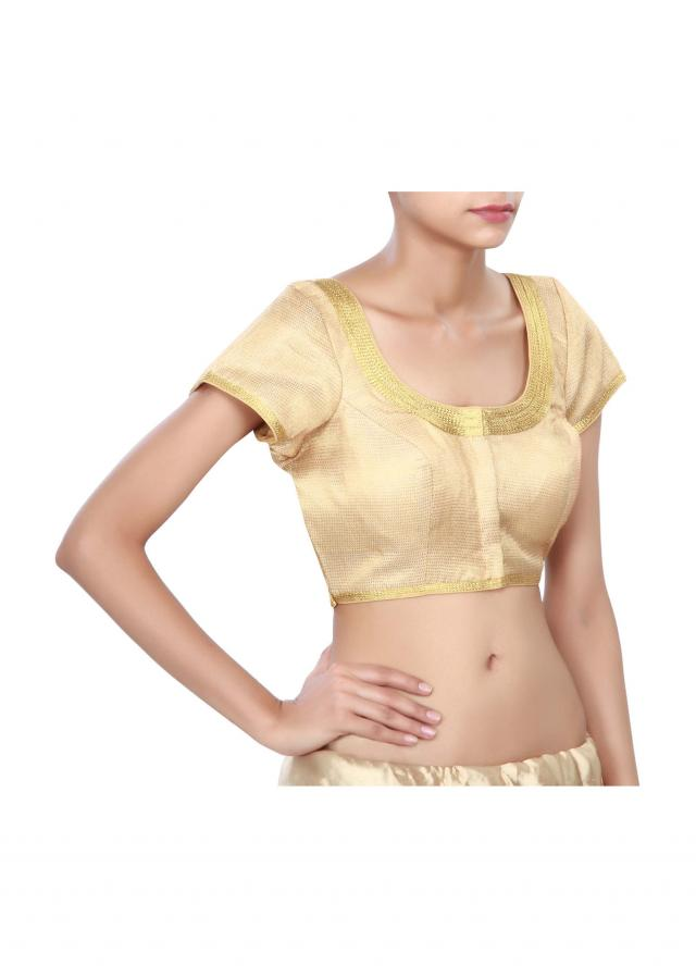Gold princes line blouse with zari lace only on Kalki