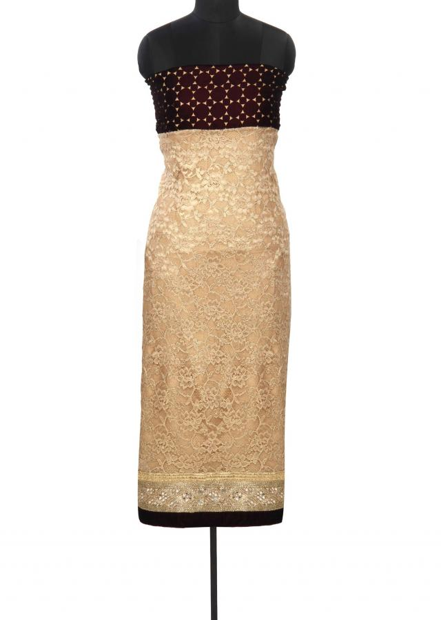 Gold unstitched suit enhanced in cut work yoke only on Kalki
