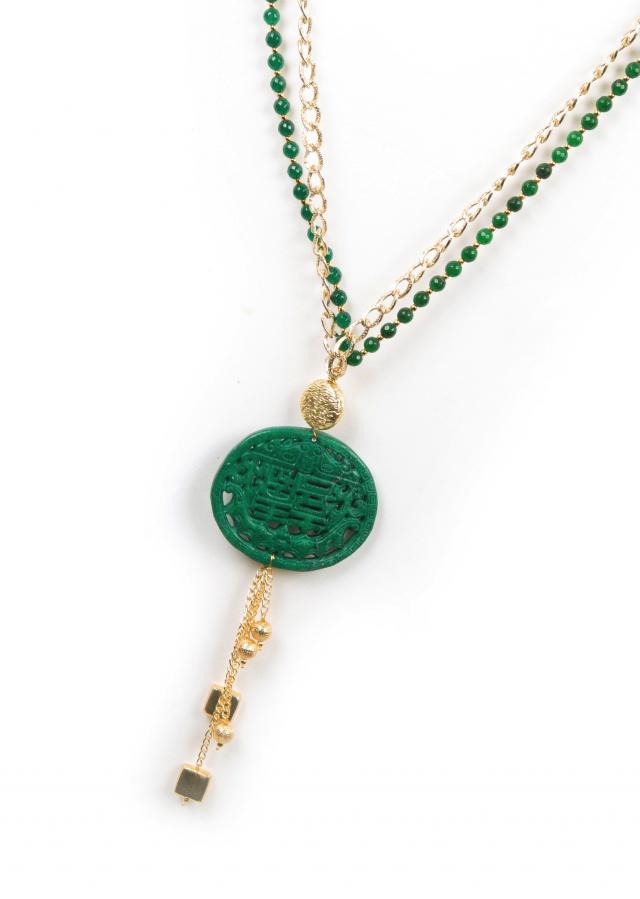 Gold and green beaded necklace only on Kalki