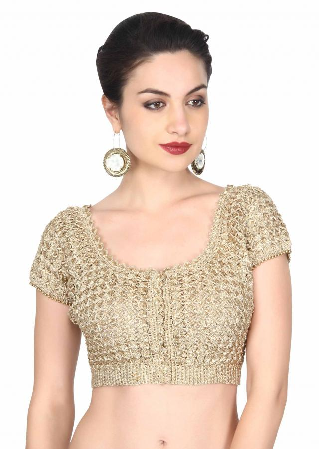 Gold blouse adorn in croquet lace work only on Kalki