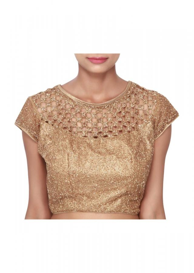 Gold blouse adorn in kardana embroidery only on Kalki