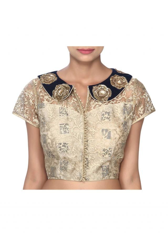 Gold blouse feautring in peter pan collar only on Kalki