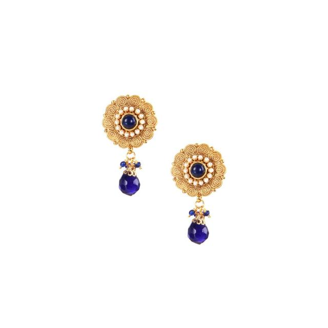 Gold earring in moti with blue dangler only on kalki