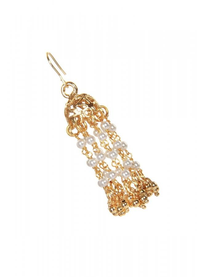 Gold finish cutwork jhumki earrings only on kalki
