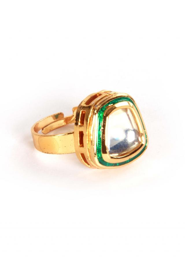 Gold plated classic single kundan ring by Ra Abta for Kalki