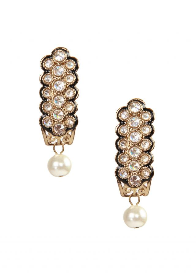 Gold plated kundan and pearl drop earring only on kalki