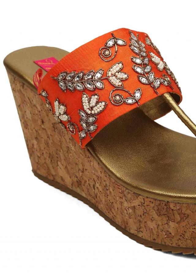 Golden yellow wedges with zardosi and moti work