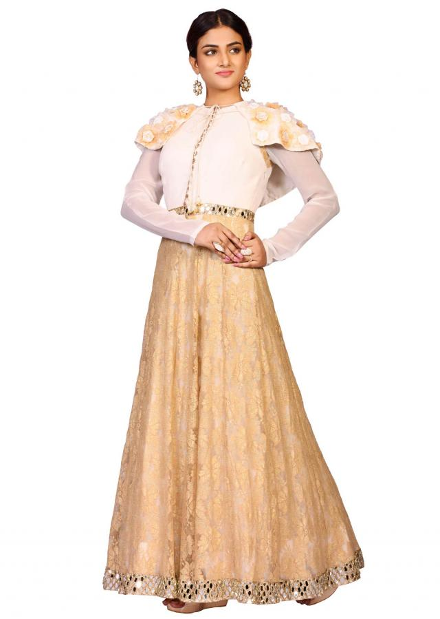 Golden cape suit in georgette with fancy net embellished in mirror embroidery only on Kalki