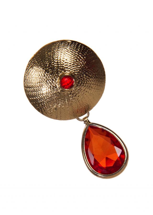 Golden Drop Earrings Adorn In Orange Gemstones only on Kalki