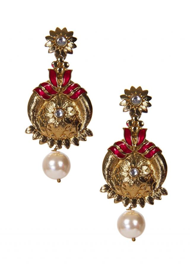 Golden Drop Earrings Crafted In Pink  Gemstones only on Kalki