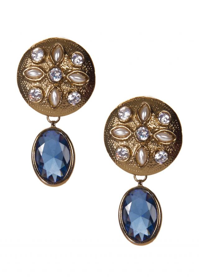 Golden earrings Embellished With Kundan And Blue Gemstone only on Kalki