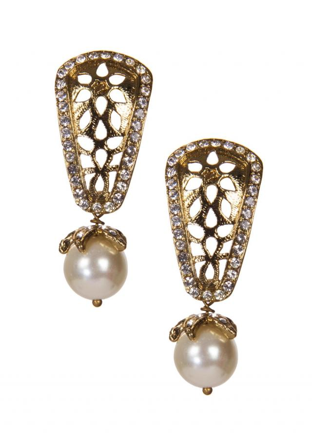 Golden Earrings With White Drops only on Kalki