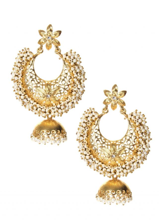 Golden Jhumkas Elevated With White Pearls only on Kalki