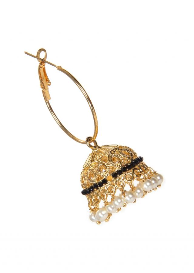 Golden Jhumkas Embellished With Black Stones And Falling Droopers only on Kalki