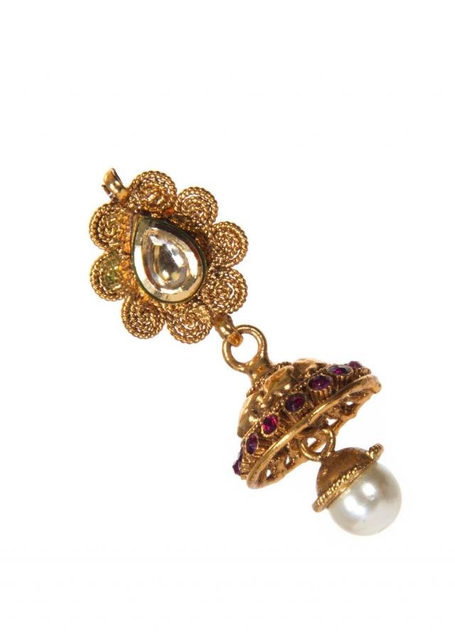 Golden Jhumkas With Purple Kundan Work And Attached White Drop Pearl only on Kalki