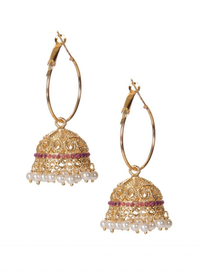 Golden Jhumkis Adorn In Kundan And White Droopers only on Kalki