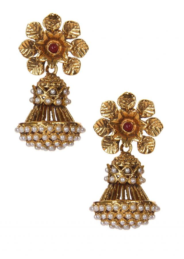 Golden Jhumkis Embellished With White Pearls only on Kalki