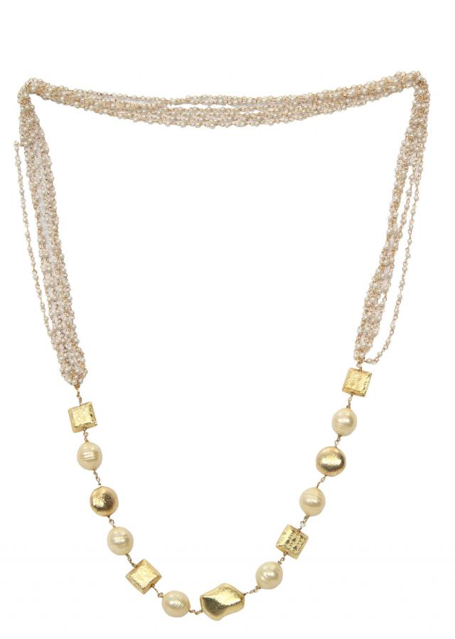 Graceful gold and white beaded chain only on Kalki