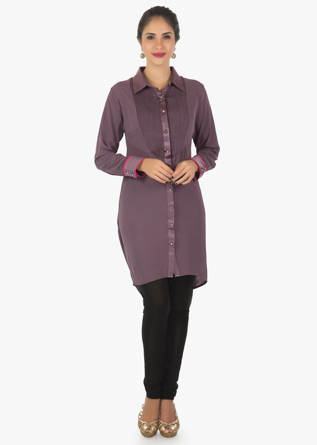 Grape Voilet Kurti In Georgette With Fancy Drape And Resham Work Online - Kalki Fashion