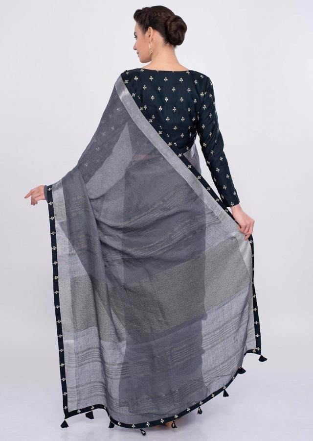Graphite Grey Saree In Jute Cotton With Midnight Blue Border Online - Kalki Fashion