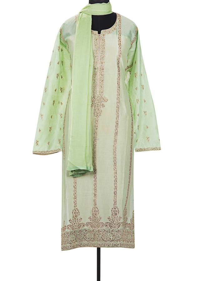 Grass green semi stitched suit in paisley motif in zari only on Kalki