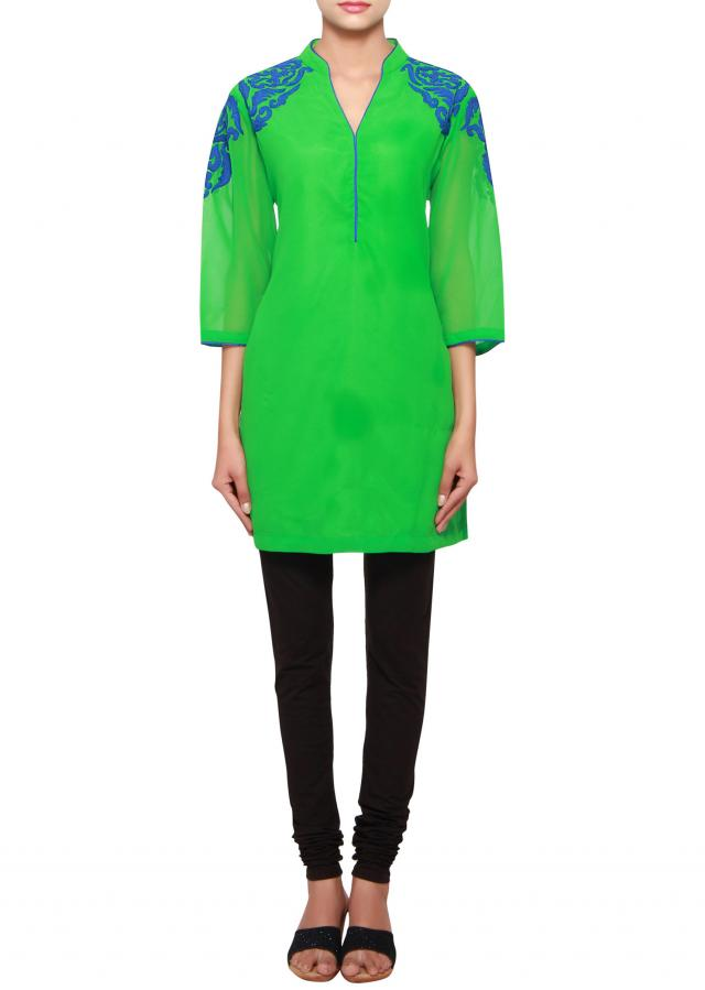 Green a-line short kurti in georgette embellished in thread only on Kalki