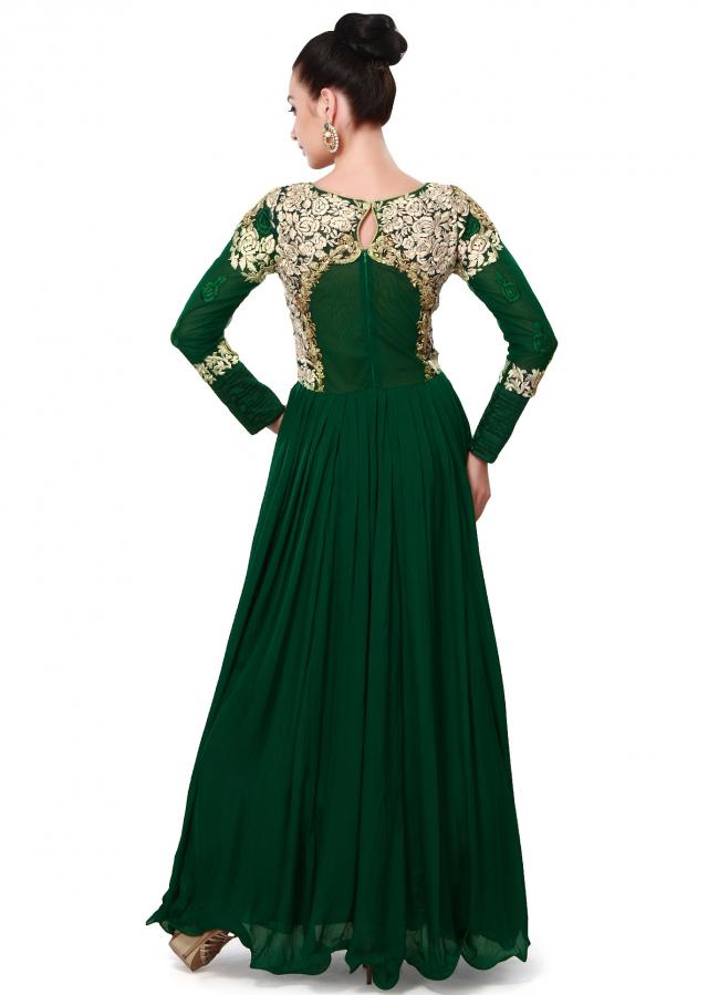Green anarkali suit adorn in resham and zari embroidery only on Kalki