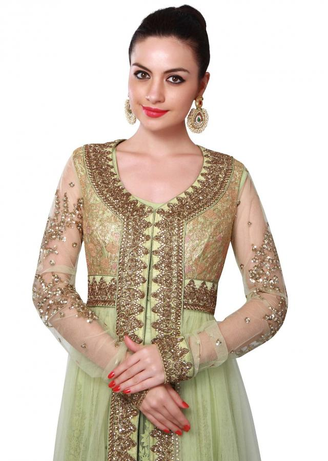 Green anarkali suit adorn in zari and kundan embroidery only on Kalki