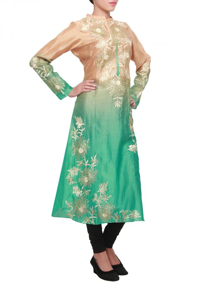 Green and peach and green, two tone silk kurti with thread and zari embroidery only on kalki