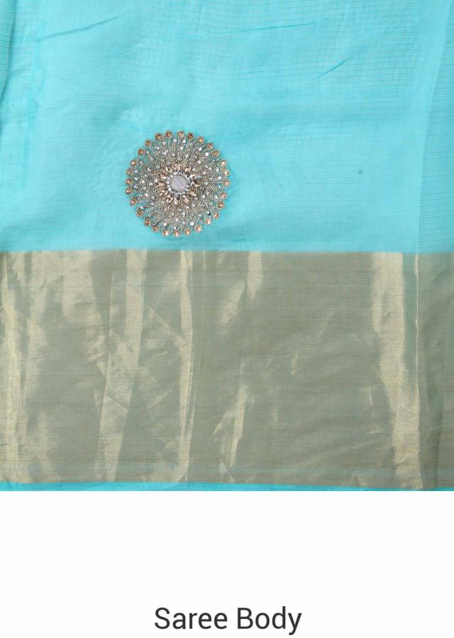 Green and turq saree adorn in zari and mirror butti only on Kalki