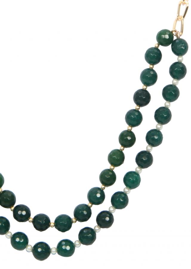 Green beads in front with gold chain only on Kalki