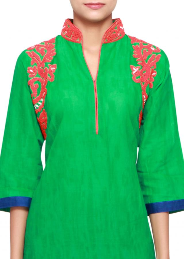 Green cotton kurti embellished in thread and print only on Kalki