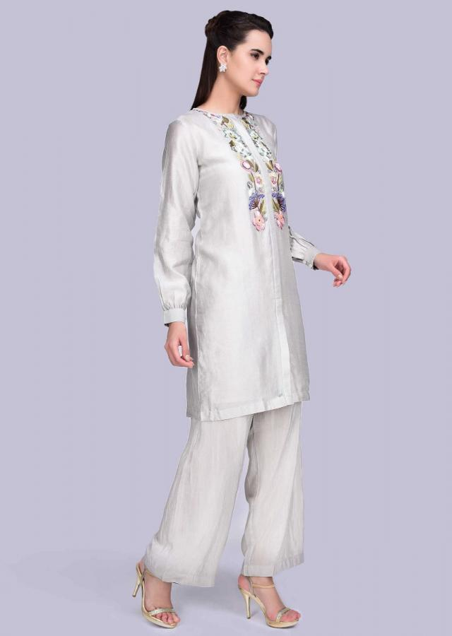 Grey Suit Set In Cotton Silk With Multi Color Floral Embroidered Placket Online - Kalki Fashion