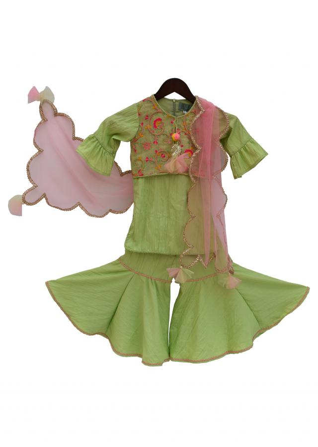 Green Crinkle Crape Kurti with Sharara by Fayon Kids