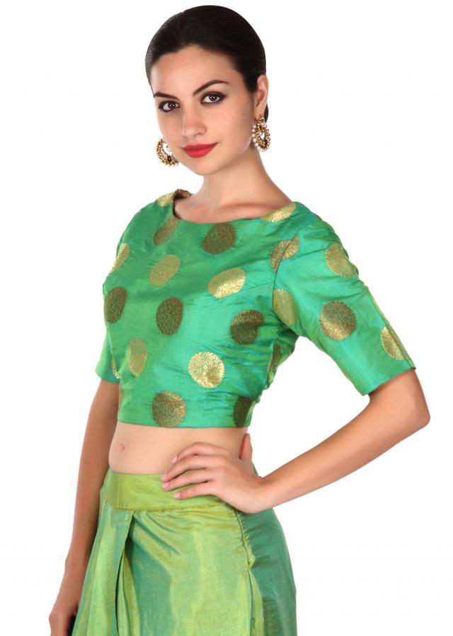 Green crop top Matched with dhoti pants only on Kalki