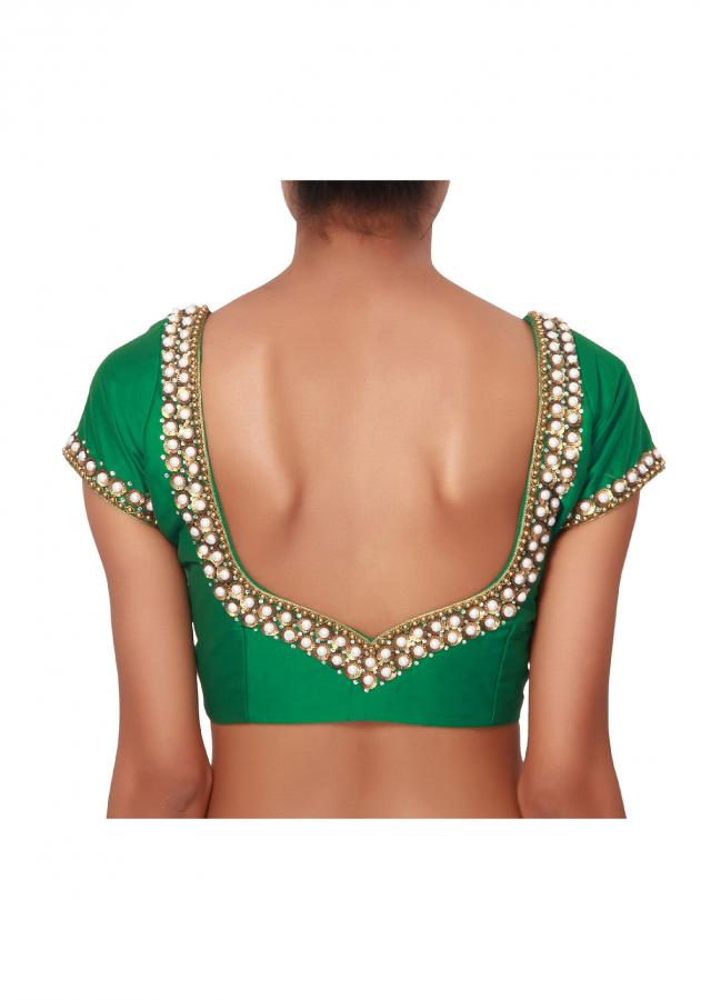 Green festivities In a wide stone studded neck