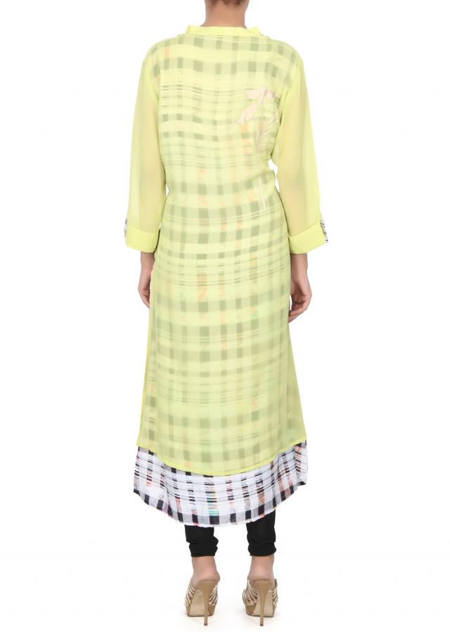 Green kurti with printed under layer only on Kalki