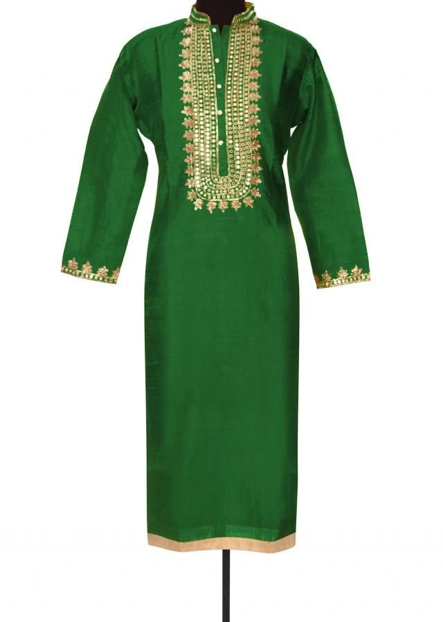 Green kurti with zari and mirror placket only on Kalki