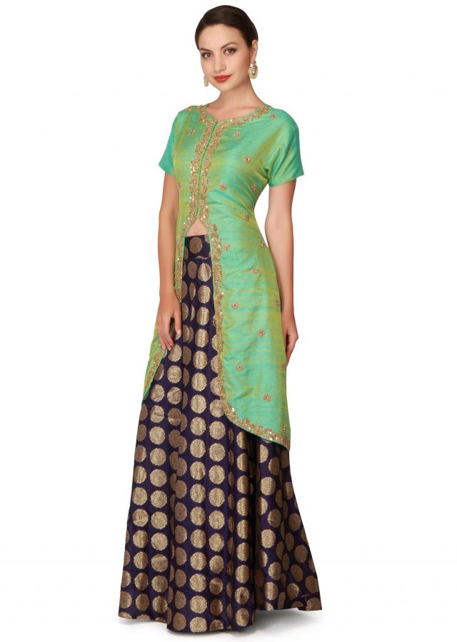 Green long blouse with navy blue borcade skirt only on Kalki