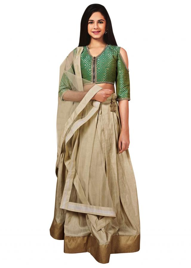 Green readymade banarasi silk and jacquard lehenga choli