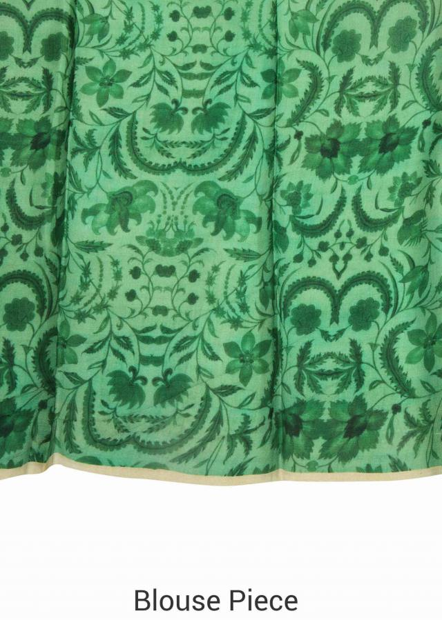 Green saree adorn in mythological print only on Kalki
